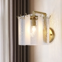 Postmodern Drum Wall Mounted Light Frosted Glass and Waterglass 1 Light Hallway Sconce Light in Gold