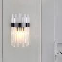 Half-Cylinder Wall Mount Light Postmodern Tri-Sided Crystal Rod 2 Heads Black/Gold Sconce Light