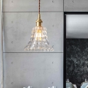 Postmodern Flared Pendant Lamp Clear Prism Glass 1 Head Dining Room Hanging Light Kit