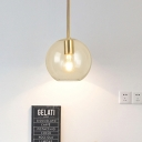 Globe Clear Glass Pendant Lamp Contemporary 1 Head 8