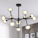 Clear Glass Bubble Chandelier Light Modern 12/16/20 Bulbs Branch Hanging Light in Black/Gold