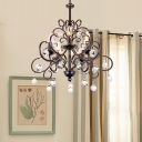 Metallic Candle Ceiling Pendant Light with Clear Crystal Ball 5 Bulbs Rustic Chandelier Lamp in Black/Bronze