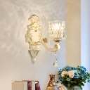 Honeycomb Pattern Glass Wall Light with Clear Cylinder Shade Vintage 1/2 Lights Wall Mount Lamp in Beige