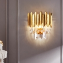 Faceted Crystal Wall Lamp with Sheet Metal Modern 3 Lights Flush Wall Sconce in Gold for Corridor
