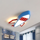 Blue Rocket Flush Mount Ceiling Fixture Contemporary Acrylic LED Ceiling Lighting in Warm/White Light for Kids