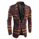 Mens Unique Cross Striped Printed Long Sleeve One Button Casual Skinny Suit Blazer