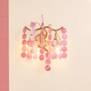 Open Bulb Wall Mount Light Lodge Style Blue/Pink Glass 2 Lights Bedside Wall Lamp with Branching Design