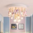 Horse/Crane Flush Mount Lighting Cartoon Resin 13/16 Lights Blue/Pink Flush Mount Lamp with Clear Blown Glass Shade