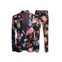 African Fashion Mens Night Club Popular Flower Print Long Sleeve Black Suit Set with Pants