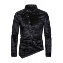 Winter Popular Inclined Button Embellished Irregular Hem Plain Diamond Velvet Shirt