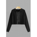 Womens Active Letter Tape Embellished Long Sleeve Cropped Drawstring Hoodie