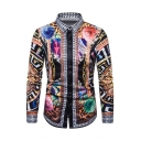 Mens Popular Tribal Leopard Chain Digital Print Turndown Collar Long Sleeve Fitted Shirt