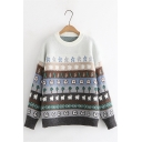Girls Lovely Sheep Pattern Long Sleeve Crew Neck Oversized Pullover Knitted Sweater