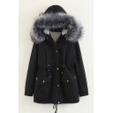Womens Popular Fur Trimmed Hood Drawstring Waist Sherpa Lined Tunic Parka Coat