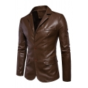 Mens Cool Solid Color Long Sleeve Double Buttons Slim Fit PU Leather Suit Blazer
