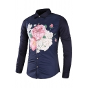 Mens Charming Flowers Print Long Sleeve Single Breasted Button Up Navy Shirt