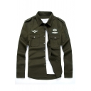 Mens Cool Applique Chest Flap Pockets Button Up Army Green Military Shirt with Epaulets