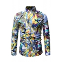 New Fashion Colorful Cartoon Leaves Pattern Long Sleeve Button Front Holiday Hawaii Shirt