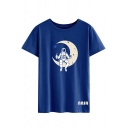 Womens Stylish Astronaut and Moon Pattern Crewneck Short Sleeve Loose T-Shirt