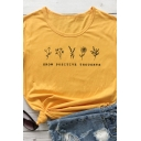 Womens Simple GROW POSITIVE THOUGHTS Print Short Sleeve Graphic T-Shirt