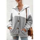 Winter Popular Color Block Sherpa Panel Long Sleeve Button Up Loose Hoodie Coat