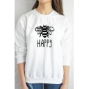 Womens Funny Letter HAPPY Bee Pattern Long Sleeve Round Neck Pullover Sweatshirt