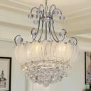 Modern Geometric Ceiling Chandelier Chrome Finish 4 Bulbs Pendant Lighting with Glass and Crystal Decoration