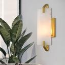 Single Head Marble Sconce Colonialist Gold Rectangular Bedroom Flush Mount Wall Light