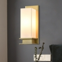 Ivory Glass Gold Sconce Light Fixture Rectangular 1 Head Colonial Flush Mount Wall Light for Bedroom