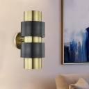 Gold/Silver Cylindrical Wall Mount Lamp Colonial Metal 1 Bulb Bedroom Wall Sconce Light