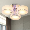 White Drum Ceiling Light Modern 3/5/6 Heads Frosted Glass Flush Mount Light with Crystal Drop