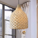 Woven Basket Hanging Ceiling Light Chinese Style Single Light Bamboo Pendant Lamp for Bedroom