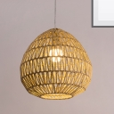 Rattan Lantern/Oval Ceiling Pendant Light 1 Light Asian Modern Hanging Light in Wood for Home