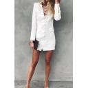 White Formal Elegant Ladies' Long Sleeve Deep V-Neck Lace Up Front Zip Back Pocket Mini Fitted Work Dress