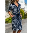 Women's Fashion Long Sleeve Lapel Collar Striped Pattern Bow-Tied Button Down Fitted Midi Shirt Dress