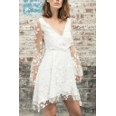 Fancy Evening Gown Ladies Bell Sleeve Deep V-Neck Floral Embroidered See-Through Lace Patched Fit Short A-Line Dress in White