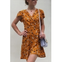 Ladies Sexy Yellow Short Sleeve V-Neck Floral Print Tied Waist Fitted Short Wrap A-Line Dress for Beach