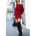 Sexy Trendy Ladies' Long Sleeve Drop Sleeve Plain Mini Tight T-Shirt Dress