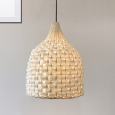 Beige Basket Hanging Lamp Modern Country Style 1 Light Weave Rattan Pendant Light
