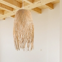 Asian Style Knitted Pendant Light 1 Light Rattan Hanging Ceiling Light with Adjustable Cord