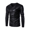Mens Popular Solid Color Long Sleeve V-Neck Slim Fit Nightclub T-Shirt