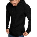 Mens Stylish Plain Pleated Long Sleeve Slim Fitted Drawstring Pullover Hoodie