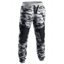 Mens Sport Classic Camouflage Panel Drawstring Waist Ankle Banded Pants
