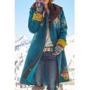 Popular Floral Printed Colorblock Lapel Collar Long Sleeve Longline Woolen Coat