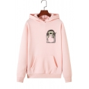 Cute Pocket Sloth Pattern Long Sleeve Pouch Pocket Casual Pullover Hoodie