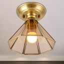 Conical Entry Flush Mount Colonial Beveled Glass 1 Bulb Brass Ceiling Light Fixture