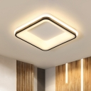 LED Black Flush Mount Lamp Minimalist Square Metal Frame Ceiling Light Fixture in Warm/White Light/Remote Control Stepless Dimming