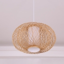 Handwoven Lantern Hanging Light with Plastic Inner Shade Chinese Style Bamboo Single Pendant Light