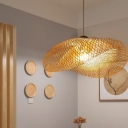Single Light Handwoven Hanging Lamp Asian Style Height Adjustable Bamboo Ceiling Pendant Light