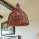 Dome Hanging Light with Rattan Shade 1 Light Asian Restaurant Pendant Light in Beige/Brown